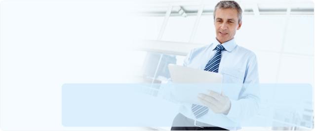 Man looking at folder