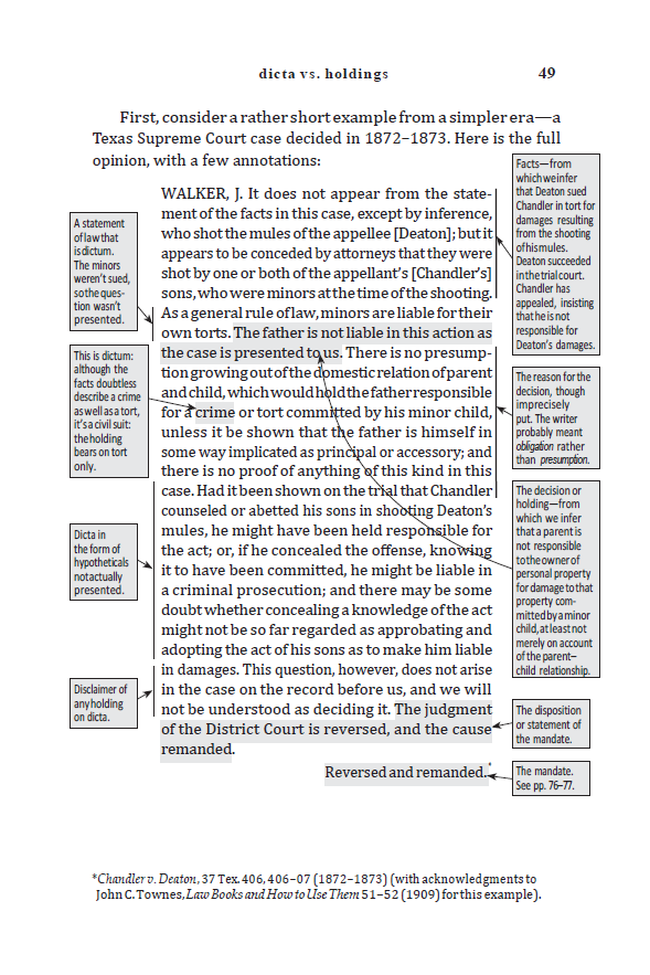 Dicta vs. Holdings - Sample Page - Law of Judicial Precedent